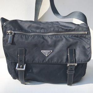 PRADA blue messenger BAG nylon Crossbody purse
